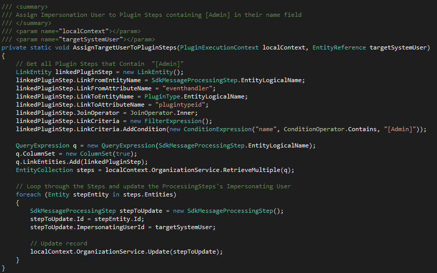 """How to change a Plugin """"Run in User's Context"""" Programmatically"""